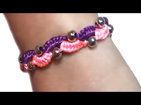 How to make bracelets wave with beads and string or thread tutorial diy and satin rattail DIY