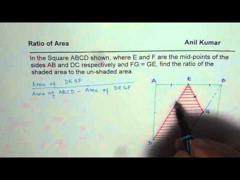 How to Find Ratio of Area in a Square for Shaded Region