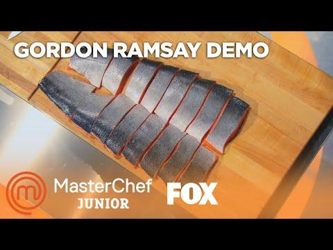 Gordon Ramsay Demonstrates How To Filet A Salmon | Season 2 Ep. 6 | MASTERCHEF JUNIOR