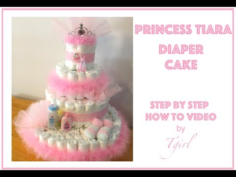 How to make a Diaper Cake - PRINCESS TIARA with PINK FEATHER BOA