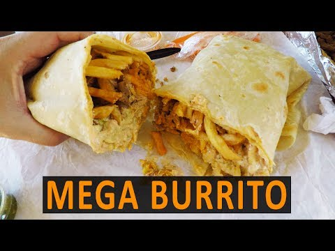 HUGE Stuffed BURRITO With FRIES, Shrimp, Chicken