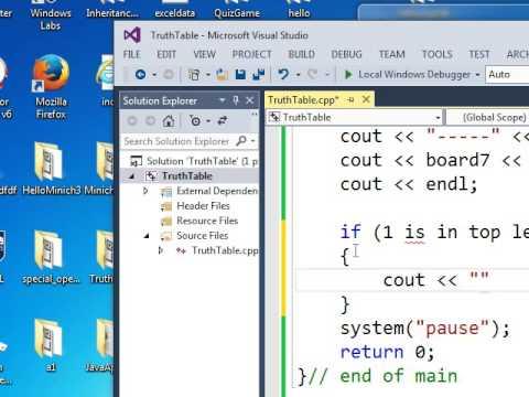 C++ truth table tic tac toe demo