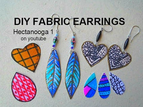 diy Jewelry Making, how to make feather earrings, fabric earrings,  craft project