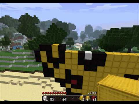 Minecraft Let's Build: Pikachu! Pt. 2