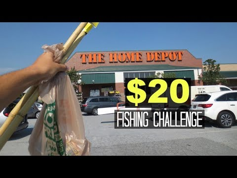 $20 Homemade Fishing Rod Challenge!! (Surprising!) Home Depot!