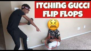ITCHING GUCCI FLIP FLOPS PRANK ON CHRIS!!
