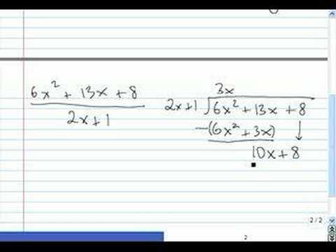 Dividing Polynomials Algebra I