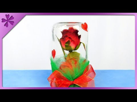 DIY How to make Valentine's Day gift, rose in a jar (ENG Subtitles) - Speed up #449