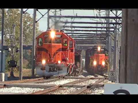 Freight Trains Racing Side By Side: South Shore Line