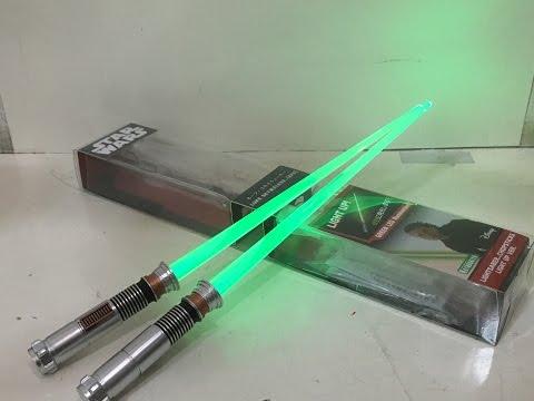 Star Wars Luke Skywalker Episode VI Lightsaber Chopsticks Light Up Version Toy Review