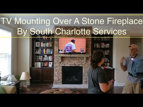 South Charlotte TV Mounting Service | Over a Stone Fireplace Installation in Charlotte, NC.