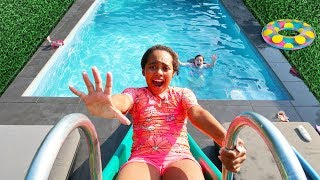 Scary Backyard Waterpark Water Slide In Our  Swimming Pool