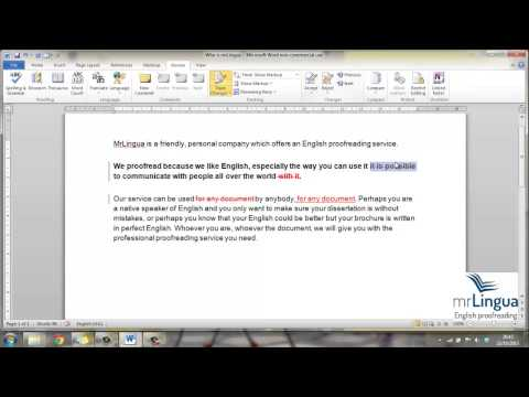 Track Changes MSWord 2010-2007 - English proofreading