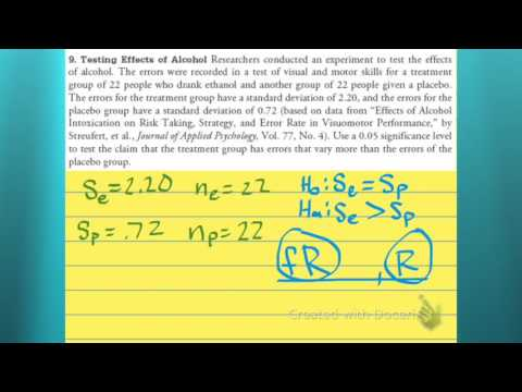 Hypothesis test for the difference of two variances
