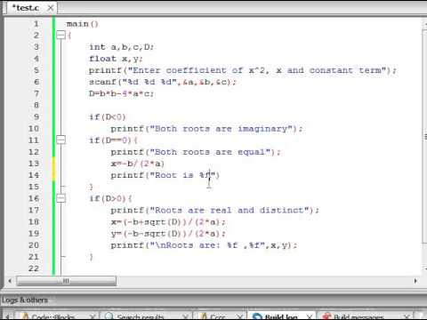 Program to find roots of quadratic equation in C language