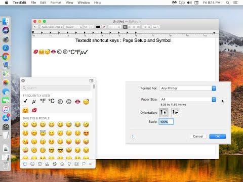 Mac TextEdit Shortcut key for Page Setup & Insert Symbol & Emojis