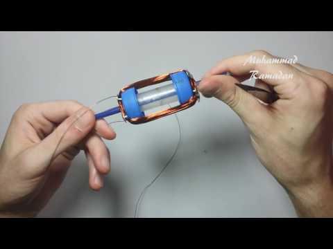 Homemade DC motor (2 coils & commutator) model 01