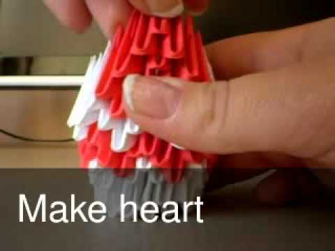 How to make 3d origami heart peacock