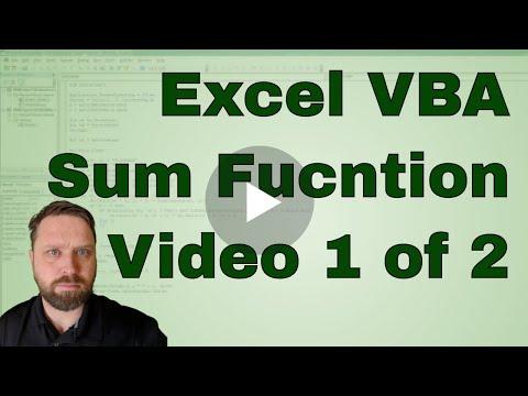 Excel VBA Sum Function as a Macro Set Up