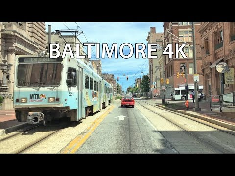 Driving Downtown - Baltimore 4K - USA