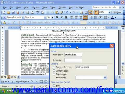 Word 2003 Tutorial Creating an Index Microsoft Office Training Lesson 27.1
