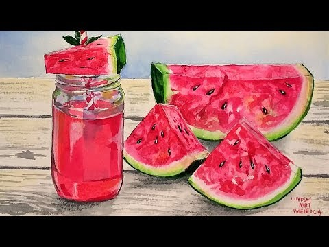LIVE! Summer Slices Watermelon in Watercolor! 12:30pm ET