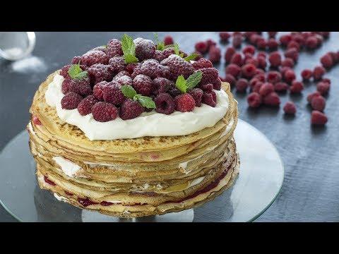 White Chocolate Raspberry Crepe Cake Recipe