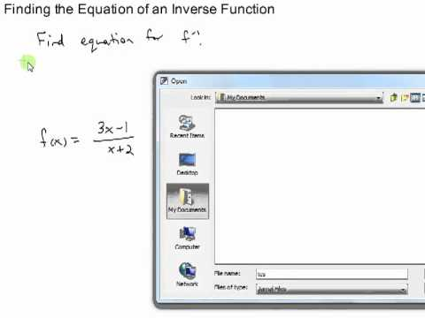 Finding the Equation of the Inverse Function