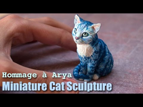 Polymer Clay Cat Sculpture // Hommage à Arya