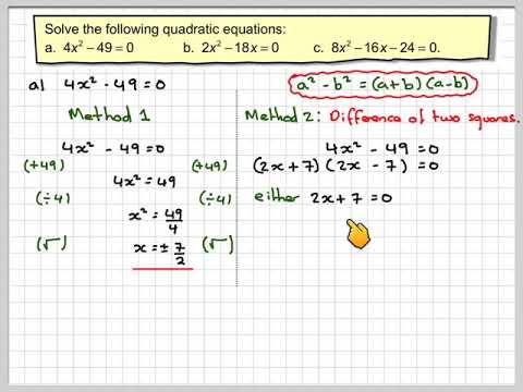 Solving quadratic equations by factoriation