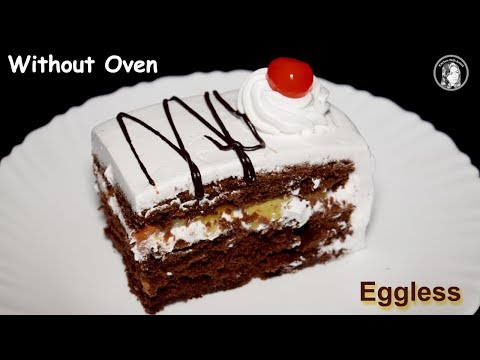 Eggless Chocolate Pastry Without Oven - Soft Eggless Chocolate Cake - Chocolate Pastry Recipe