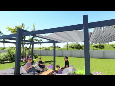 Forli model retractable awning patio and deck pergola cover system - Residential video