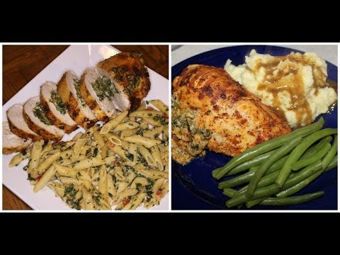 Stuffed baked chicken breast with spinach and cheeses ....Cooking With Queenii
