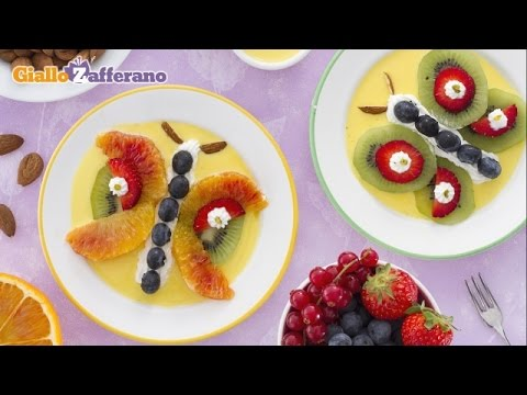 Fruit butterflies with crème anglaise - kid friendly recipe