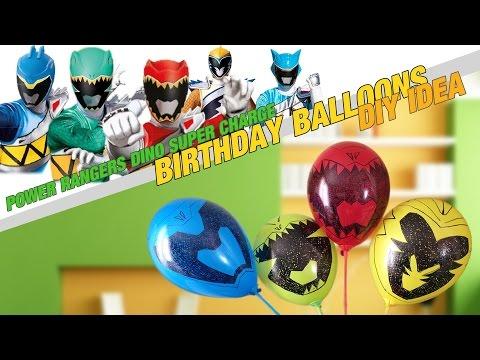 Power Rangers Dino Super Charge birthday IDEA! DIY Rangers face balloons!
