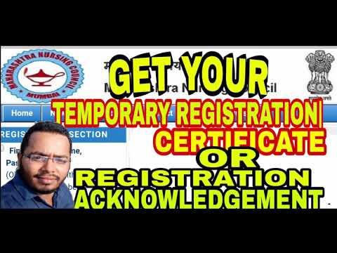 TEMPORARY   PROVISIONAL REGISTRATION CERTIFICATE MAHARASHTRA NURSING COUNCIL