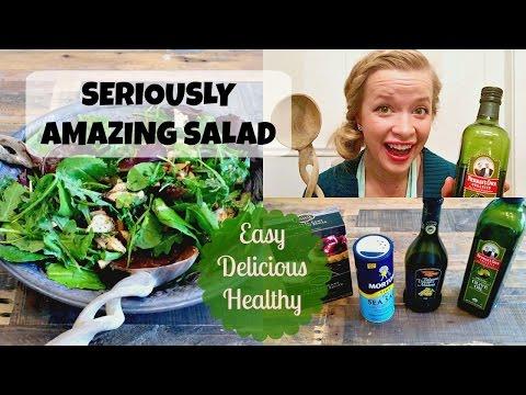 Easy, Delicious Pear and Arugula Salad! Homemade Dressing Recipe!