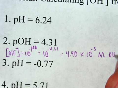 Calculating Hydroxide Ion Concentration