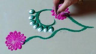 रोजसाठी साधी सिम्पल आणि सुंदर रांगोळी डिझाईन By Jyoti Raut Rangoli