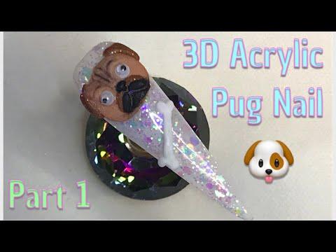 3D Pug Nail - Part 1 | Acrylic Nails | Nail Sugar