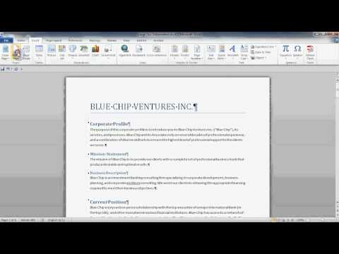 Microsoft Word 2010 - Styles Part Three:  Inserting a Table of Contents