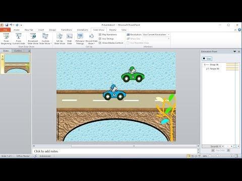 Tutorial powerpoint 2010 |Cara Membuat Custom Animations Mobil Menyalip terbang di powerpoint