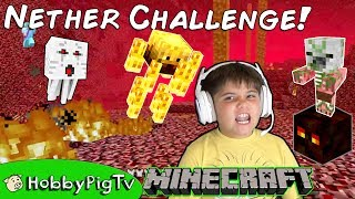 Minecraft Nether Castle Survival Challenge + Castle Build! Babies Chase HobbyPigTV