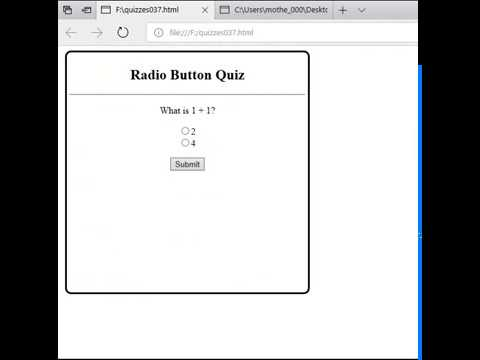 Creating a simple radio button quiz using html, javascript, and css