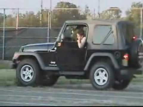 Learning Stick Shift in Jeep Wranger Doing Curbs