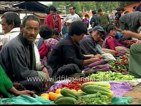 Organic vegetable market in Bhutan, 1990's