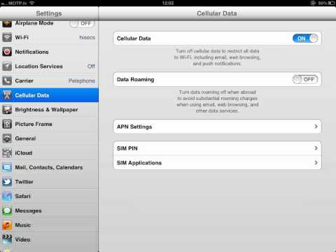 How to disable iPad 3G cell Internet service 3G