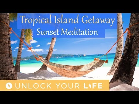 Tropical Island Beach Vacation Full Sensory Experience with Sunset Meditation for Sleep