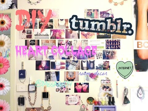 DIY TUMBLR HEART PHOTO WALL COLLAGE ♡ FIRST VIDEO 😚