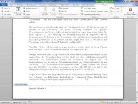 Microsoft Word 2010 Den Inhalt einer Kopf  oder Fußzeile ändern